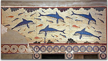 Image of  A marine scene featuring a school of dolphins composed symmetrically with fish in the interstices and clusters of sponges around the periphery at the ruins of Knōsos built by the Minoan, Mycenaean people.